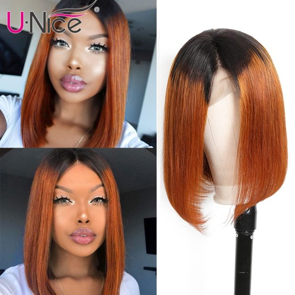Unice Hair 13 4 Straight Bob Ombre T1B30 Human Hair Wigs 8 14 Inch Pre Plucked Unice Hair 13*4 Straight Bob Ombre T1B30 Human Hair Wigs 8-14 Inch Pre Plucked Remy Hair Lace Front Wig