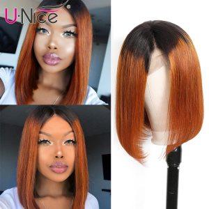 Unice Hair 13 4 Straight Bob Ombre T1B30 Human Hair Wigs 8 14 Inch Pre Plucked Innrech Market.com