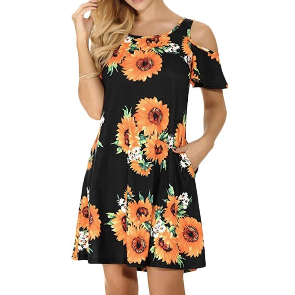 Women s Casual Off Shoulder Dress Short Sleeve Flower Print Loose Summer Mini Dress Fashion beach Women's Casual Off Shoulder Dress Short Sleeve Flower Print  Loose Summer Mini Dress Fashion beach dresses vestidos verano 2019