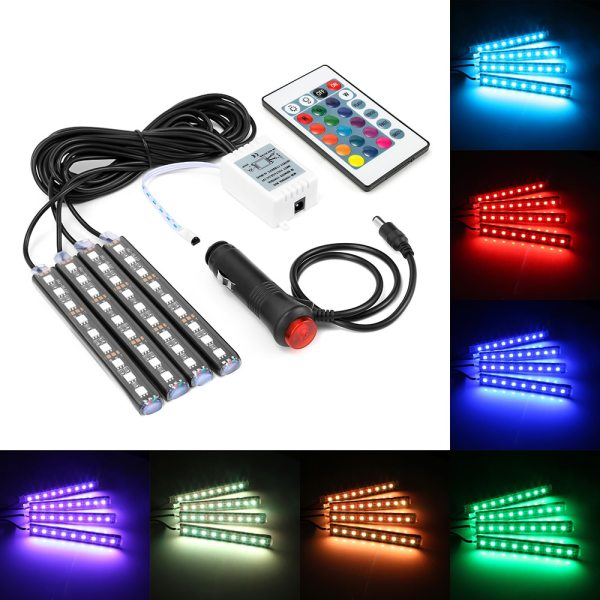 4pcs Car RGB LED Strip Light LED Strip Lights Colors Car Styling Decorative Atmosphere Lamps Car 4pcs Car RGB LED Strip Light LED Strip Lights Colors Car Styling Decorative Atmosphere Lamps Car Interior Light With Remote