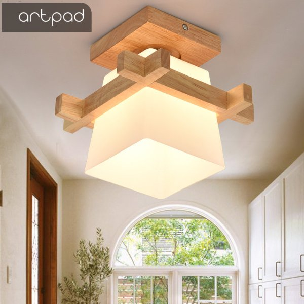 Artpad Tatami Japanese Ceiling Light for Home Lighting Glass Lampshade E27 LED Ceiling Lamp Wood Base 1 Lamp Shades | Glass Lamp Shades | Tatami Japanese Ceiling Light for Home Lighting E27 LED Ceiling Lamp Wood Base Hallways Porch Fixtures