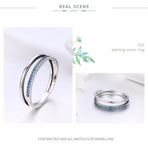 BAMOER Genuine 925 Sterling Silver Double Circle Black Clear CZ Stackable Finger Ring for Women Fine 2 BAMOER Genuine 925 Sterling Silver Double Circle Black Clear CZ Stackable Finger Ring for Women Fine Silver Jewelry Gift SCR082