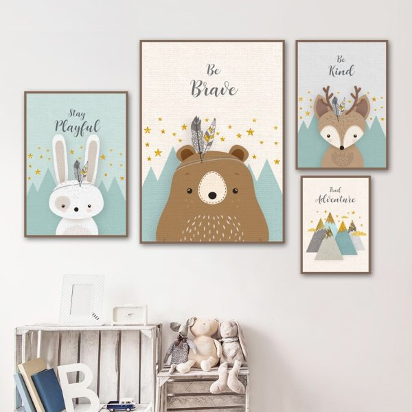 Bear Rabbit Fox Deer Nursery Wall Art Canvas Painting Cartoon Nordic Posters And Prints Wall Pictures 1 Bear Rabbit Fox Deer Nursery Wall Art Canvas Painting Cartoon Nordic Posters And Prints Wall Pictures Girl Boy Kids Room Decor