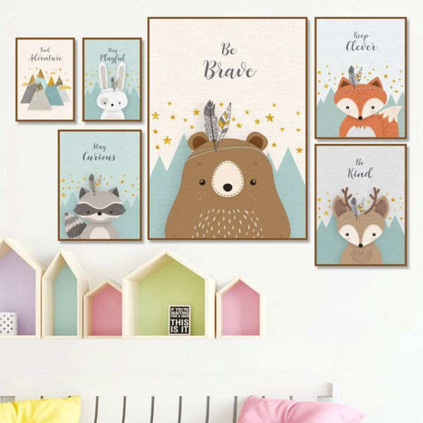 Bear Rabbit Fox Deer Nursery Wall Art Canvas Painting Cartoon Nordic Posters And Prints Wall Pictures Bear Rabbit Fox Deer Nursery Wall Art Canvas Painting Cartoon Nordic Posters And Prints Wall Pictures Girl Boy Kids Room Decor
