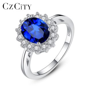 CZCITY Princess Diana William Kate Gemstone Rings Sapphire Blue Wedding Engagement 925 Sterling Silver Finger Ring Innrech Market.com