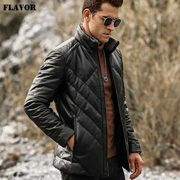 FLAVOR Men s Real Leather Down Jacket Men Genuine Lambskin Winter Warm Leather Coat with Removable FLAVOR Men's Real Leather Down Jacket Men Genuine Lambskin Winter Warm Leather Coat with Removable Standing Sheep Fur Collar