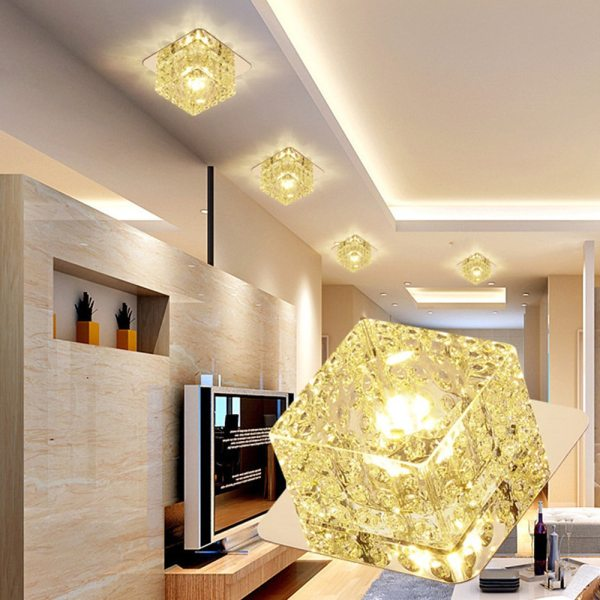 LED Ceiling Light Surface Mounted Crystal Aisle Lamp Lustre Modern Ceiling Lamp For Living Room Indoor 4 LED Ceiling Lights | Light Surface | Surface Mounted Crystal Aisle Lamp Lustre Modern Ceiling Lamp For Living Room Indoor Bedroom Corridor Entrance Power 3W
