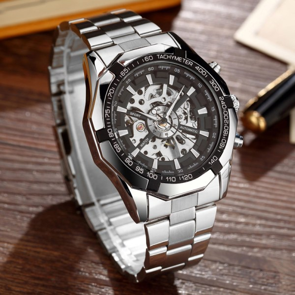 Luxury Silver Automatic Mechanical Watches for Men Skeleton Stainless Steel Self wind Wrist Watch Men Clock 1 Luxury Silver Automatic Mechanical Watches for Men Skeleton Stainless Steel Self-wind Wrist Watch Men Clock relogio masculino