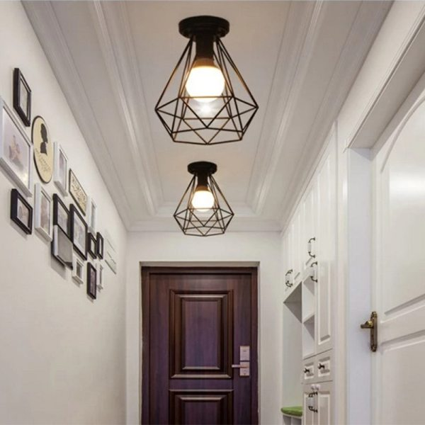 Modern nordic black wrought iron E27 led ceiling lamps for kitchen living room bedroom study balcony 5 Modern nordic black wrought iron E27 led ceiling lamps for kitchen living room bedroom study balcony porch restaurant cafe hotel