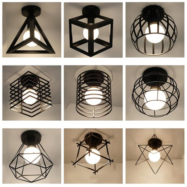 Modern nordic black wrought iron E27 led ceiling lamps for kitchen living room bedroom study balcony Modern nordic black wrought iron E27 led ceiling lamps for kitchen living room bedroom study balcony porch restaurant cafe hotel