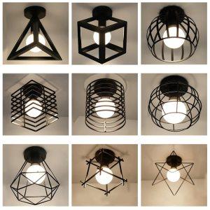 Modern nordic black wrought iron E27 led ceiling lamps for kitchen living room bedroom study balcony Innrech Market.com
