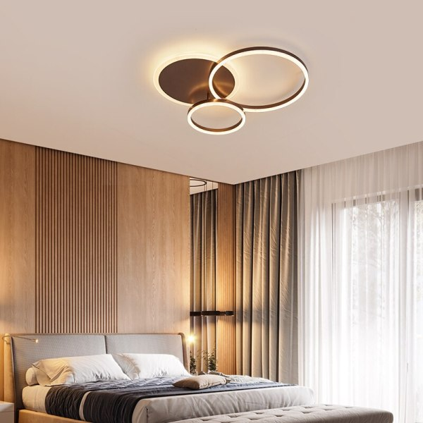 NEO Gleam 2 3 5 6 Circle Rings Modern led ceiling Lights For living Room Bedroom 2 Circular Ceiling Light | Circular Light Bulb | NEO Gleam 2/3/5/6 Circle Rings Modern led ceiling Lights For living Room Bedroom Study Room White/Brown Color ceiling Lamp led circle light, circle light, ring ceiling light