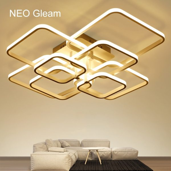 NEO Gleam Rectangle Acrylic Aluminum Modern Led ceiling lights for living room bedroom AC85 265V White 1 NEO Gleam Rectangle Acrylic Aluminum Modern Led ceiling lights for living room bedroom AC85-265V White Ceiling Lamp Fixtures