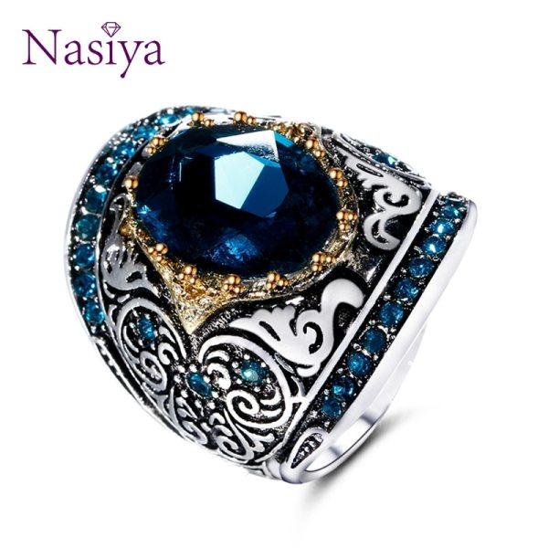 Nasiya Peacock Blue Gemstone Rings For Women Men s Aquamatine 925 Silver Jewelry Ring Vintage Gift Nasiya Peacock Blue Gemstone Rings For Women Men's Aquamatine 925 Silver Jewelry Ring Vintage Gift for Mother Grandmother