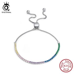 ORSA JEWELS Real 925 Adjustable Bracelet With Single Row Transparent ZirconSterling Silver Chain Dating Collocation Jewelry Innrech Market.com