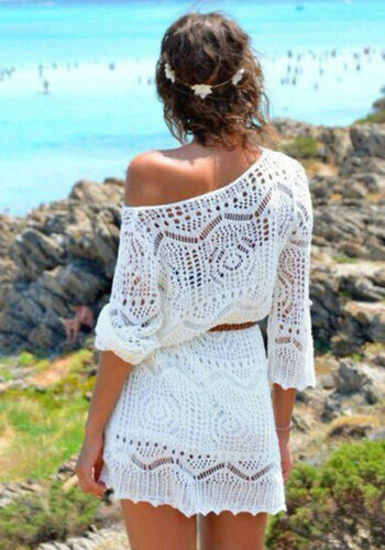 Women Ladies Lace Crochet Casual Dress Summer Clothes Cover Up Swimwear Bathing Suit Summer Swimwear 3 Women Ladies Lace Crochet Casual Dress Summer Clothes Cover Up Swimwear Bathing Suit Summer Swimwear