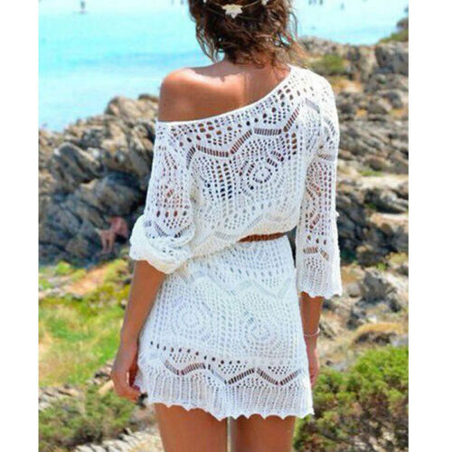 Women Ladies Lace Crochet Casual Dress Summer Clothes Cover Up Swimwear Bathing Suit Summer Swimwear 5 Women Ladies Lace Crochet Casual Dress Summer Clothes Cover Up Swimwear Bathing Suit Summer Swimwear