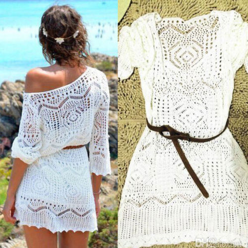Women Ladies Lace Crochet Casual Dress Summer Clothes Cover Up Swimwear Bathing Suit Summer Swimwear Women Ladies Lace Crochet Casual Dress Summer Clothes Cover Up Swimwear Bathing Suit Summer Swimwear