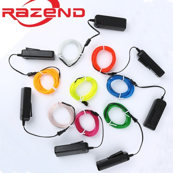 1m 3m 5M 3V Flexible Neon Light Glow EL Wire Rope tape Cable Strip LED Neon 1m/3m/5M 3V Flexible Neon Light Glow EL Wire Rope tape Cable Strip LED Neon Lights Shoes Clothing Car waterproof led strip New