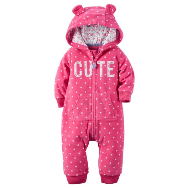 2018 New Bebes Clothes Newborn One Piece Fleece Hooded Jumpsuit Long Sleeved Spring Baby Girls Boys 4 2018 New Bebes Clothes Newborn One Piece Fleece Hooded Jumpsuit Long Sleeved Spring Baby Girls Boys Body Suits Romper