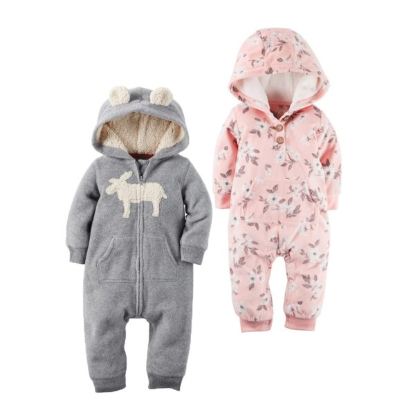 2018 New Bebes Clothes Newborn One Piece Fleece Hooded Jumpsuit Long Sleeved Spring Baby Girls Boys 2018 New Bebes Clothes Newborn One Piece Fleece Hooded Jumpsuit Long Sleeved Spring Baby Girls Boys Body Suits Romper