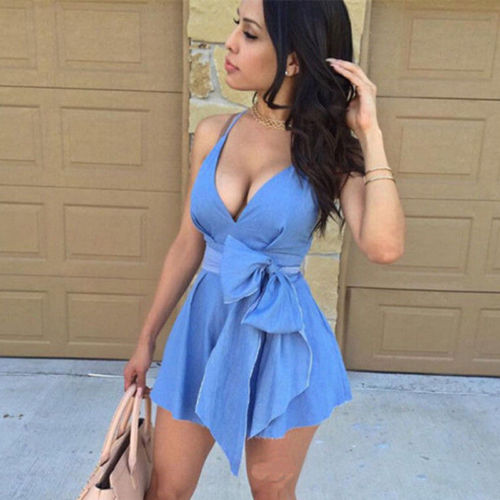 2019 Newest Summer Sexy Women Sleeveless V Neck Bow tie Party Dress Evening Casual Mini Dress 2019 Newest Summer Sexy Women Sleeveless V Neck Bow tie Party Dress Evening Casual Mini Dress Blue Vestidos Female Clothing