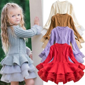 2019 Winter Knitted Chiffon Girl Dress Christmas Party Long Sleeve Children Clothes Kids Dresses For Girls Innrech Market.com