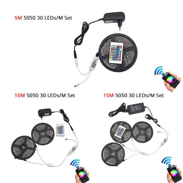 5M 5050 RGB WIFI LED Strip light Waterproof RGB 10M 15M led ribbon tape Remote WIFI 3 5M 5050 RGB WIFI LED Strip light Waterproof RGB 10M 15M led ribbon tape Remote WIFI Wireless Controller 12V power adapter Kit