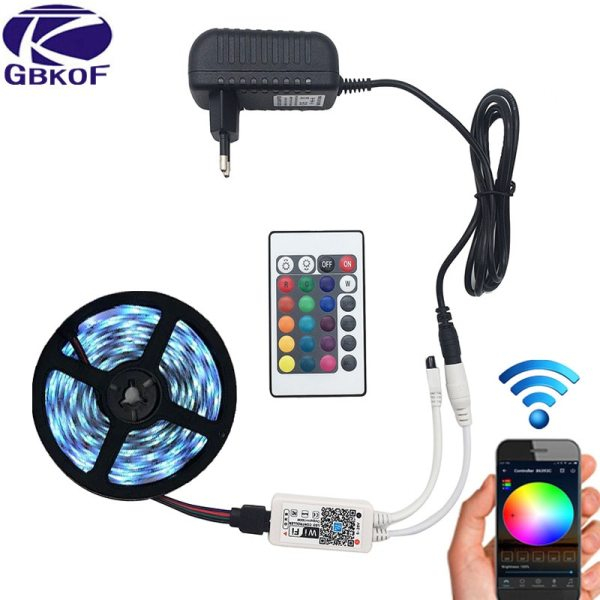 5M 5050 RGB WIFI LED Strip light Waterproof RGB 10M 15M led ribbon tape Remote WIFI 5M 5050 RGB WIFI LED Strip light Waterproof RGB 10M 15M led ribbon tape Remote WIFI Wireless Controller 12V power adapter Kit