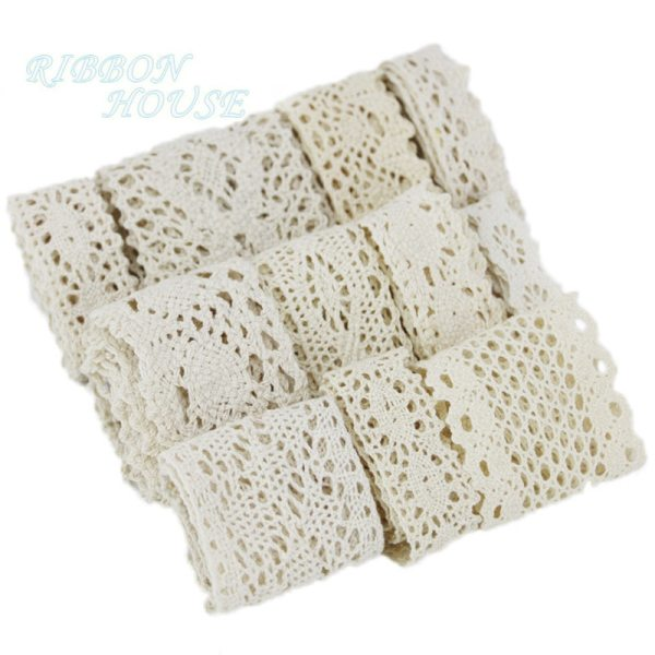 5Meter roll White Beige Cotton Embroidered Lace Net Ribbons Fabric Trim DIY Sewing Handmade Craft 4 (5Meter/roll) White Beige Cotton Embroidered Lace Net Ribbons Fabric Trim DIY Sewing Handmade Craft Materials