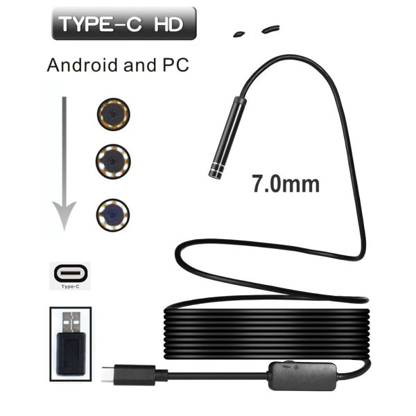 7MM 1 3 5Meters USB TYPE C Inspection Endoscope Camera 6LED HD for S8 LG G5 7MM 1/3/5Meters USB TYPE-C Inspection Endoscope Camera 6LED HD for S8 LG G5/G6/V20 Pixel P9/P10 Oneplus 2/3/3T Android Phone