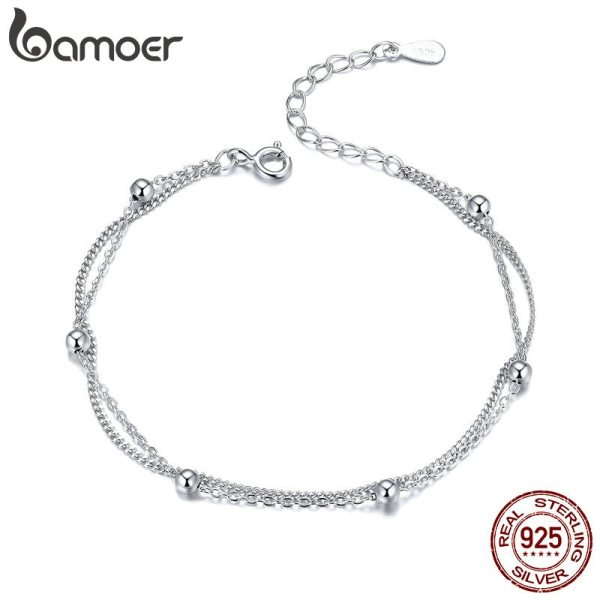 BAMOER 925 Silver Chain Bracelet Women Round Beads Double Layers Link Chain Bracelets Female Sterling Silver BAMOER 925 Silver Chain Bracelet Women Round Beads Double Layers Link Chain Bracelets Female Sterling Silver Jewelry 2019 SCB131