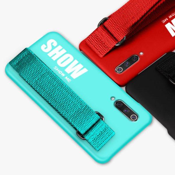 For Xiaomi Mi 9T 9 SE 8 Lite Pro 6 6X A2 A1 Note 10 Max 3 For Xiaomi Mi 9T 9 SE 8 Lite Pro 6 6X A2 A1 Note 10 Max 2 3 Mix 2S CC9 CC9E Redmi K20 Case Silicon Matte Cover Hand Strap Funda