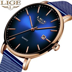 LIGE Fashion Mens Watches Top Brand Luxury Blue Waterproof Watches Ultra Thin Date Simple Casual Quartz Innrech Market.com