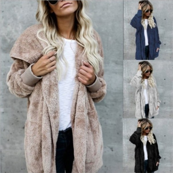S 5XL Faux Fur Teddy Bear Coat Jacket Women Fashion Open Stitch Winter Hooded Coat Female S-5XL Faux Fur Teddy Bear Coat Jacket Women Fashion Open Stitch Winter Hooded Coat Female Long Sleeve Fuzzy Jacket 2018 Hot New