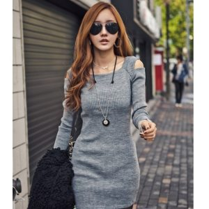 Square Collar Dress Long Sleeve Bodycon Sweater Knitted Dress Female Pullover Autumn Winter Dresses Vestidos Innrech Market.com