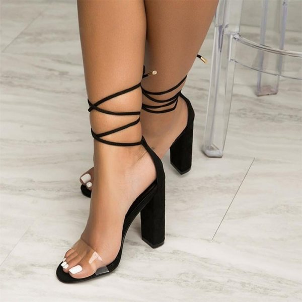 Summer Women High Heels Shoes T stage Transparent Sandals Sexy Square Heel Pump Female Cover Heel 1 Summer Women High Heels Shoes T-stage Transparent Sandals Sexy Square Heel Pump Female Cover Heel Party Wedding Ladies Plus Size