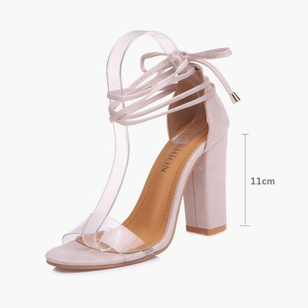 Summer Women High Heels Shoes T stage Transparent Sandals Sexy Square Heel Pump Female Cover Heel 4 Summer Women High Heels Shoes T-stage Transparent Sandals Sexy Square Heel Pump Female Cover Heel Party Wedding Ladies Plus Size