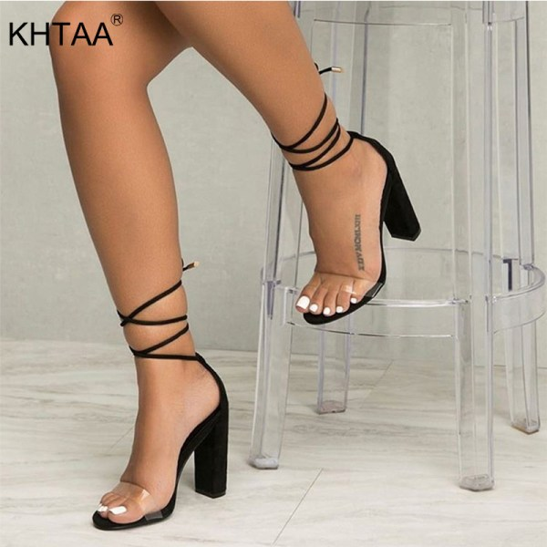 Summer Women High Heels Shoes T stage Transparent Sandals Sexy Square Heel Pump Female Cover Heel Summer Women High Heels Shoes T-stage Transparent Sandals Sexy Square Heel Pump Female Cover Heel Party Wedding Ladies Plus Size
