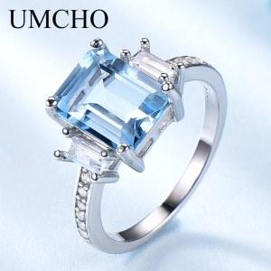 UMCHO Blue Topaz Gemstone Rings for Women Genuine 925 Sterling Silver Aquamarine Ring Romantic Wedding Engagement 1 Innrech Market.com