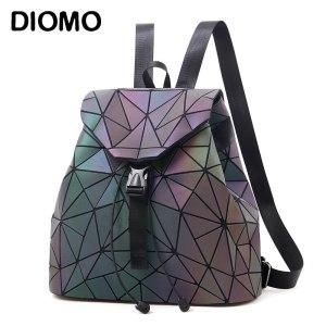 Women Backpack Luminous Geometric Plaid Sequin Female Backpacks For Teenage Girls Bagpack Drawstring Bag Holographic Backpack Innrech Market.com