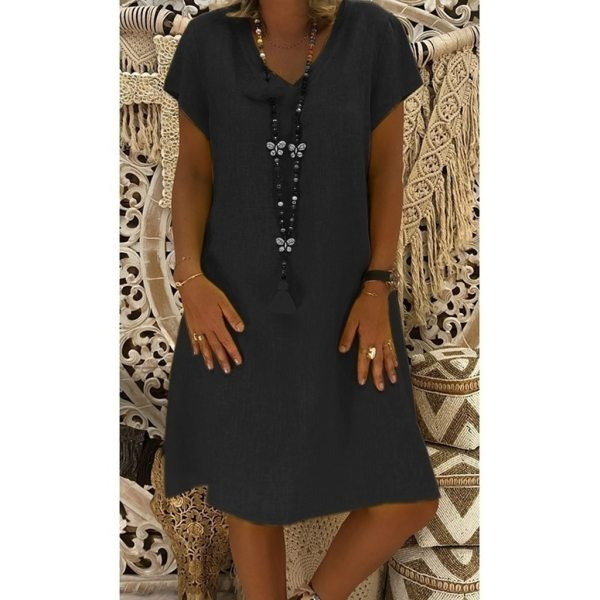 Women Dress Plus Size Dresses Womens Loose Summer Style Feminino Vestido Cotton Casual Big Size Ladies 4 Women Dress Plus Size Dresses Womens Loose Summer Style Feminino Vestido Cotton Casual Big Size Ladies Dress Boho Sundress #40