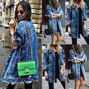 Women s Basic Coat Holes Baggy Denim Jacket Long Sleeve Loose Street Style Outwear Winter NEW Innrech Market.com