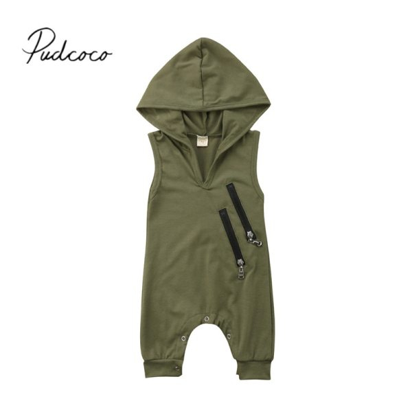 2018 Brand New Newborn Toddler Baby Girls Boys Summer Casual Active Romper Sleeveless Hooded Solid Zipper 2018 Brand New Newborn Toddler Baby Girls Boys Summer Casual Active Romper Sleeveless Hooded Solid Zipper Jumpsuits Romper 0-24M
