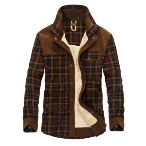 Autumn and winter men s jacket casual shirt plus velvet jacket business casual large size coat Innrech Market.com