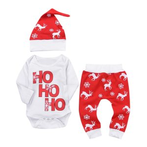 Baby Winter Clothes Newborn Infant Baby Boy Girl Romper Tops Pants Christmas Deer snowflake Outfits Set 1 Innrech Market.com