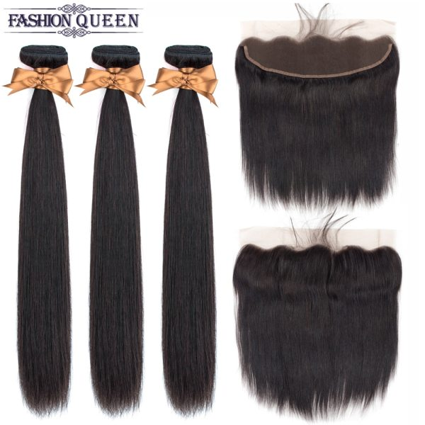 Brazilian Straight Hair Lace Frontal With Hair Weave Bundles Human Hair Extension Bundles With Frontal Non Brazilian Straight Hair Lace Frontal With Hair Weave Bundles Human Hair Extension Bundles With Frontal Non Remy Fashion Queen