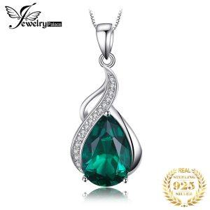 Jpalace Simulated Nano Emerald Pendant Necklace 925 Sterling Silver Gemstones Choker Statement Necklace Women Without Chain Innrech Market.com