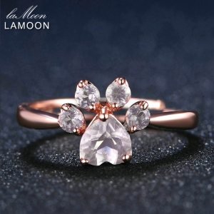LAMOON 925 Sterling Silver Ring For Women Bear Paw Rose Quartz Gemstone 18K Rose Gold Adjustable Innrech Market.com