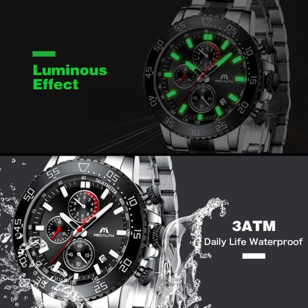 MEGALITH Military Watches Men Stainless Steel Band Waterproof Quartz Wristwatch Chronograph Clock Male Fashion Sports Watch 3 MEGALITH Military Watches Men Stainless Steel Band Waterproof Quartz Wristwatch Chronograph Clock Male Fashion Sports Watch 8087